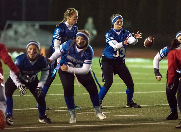 11/19/18 Wesley Bunnell | Staff Southington powder puff football vs Rocky Hill on Monday night at Southington High School. QB Gabby Malachowski (33).