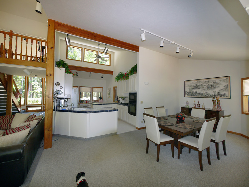 Kitchen and dining room from the far side, away from the street entrance.