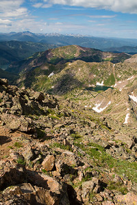 Vail and Beaver Creek, CO as seen from high in the Gore Range. Booth Lake seen in foreground