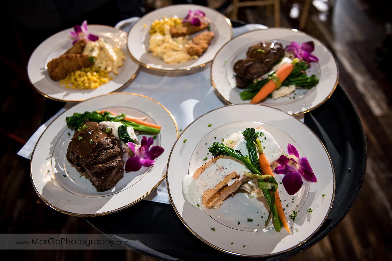 dinner plates at Sunol's Casa Bella wedding reception