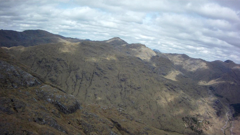 Moving further up the valley and peering round into a narrow rising valley under Fraoch Beinn.