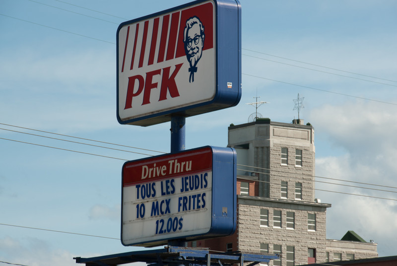 Fastfood sign in Quebec City, Quebec, Canada