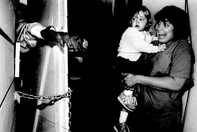 . 1986: Vickie Peterson and son Jeremie visit the haunted garden shed at the South San Jose home of neighbor Terry Hoppins on a day-before-Halloween preview. (Eugene Louie, Mercury News)