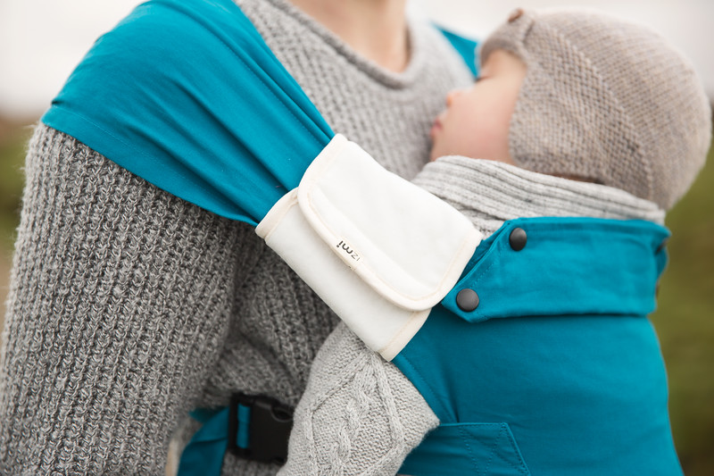 Izmi_Baby_Carrier_Cotton_Teal_Lifestyle_Front_Carry_Shoulder_Strap_Cover.jpg