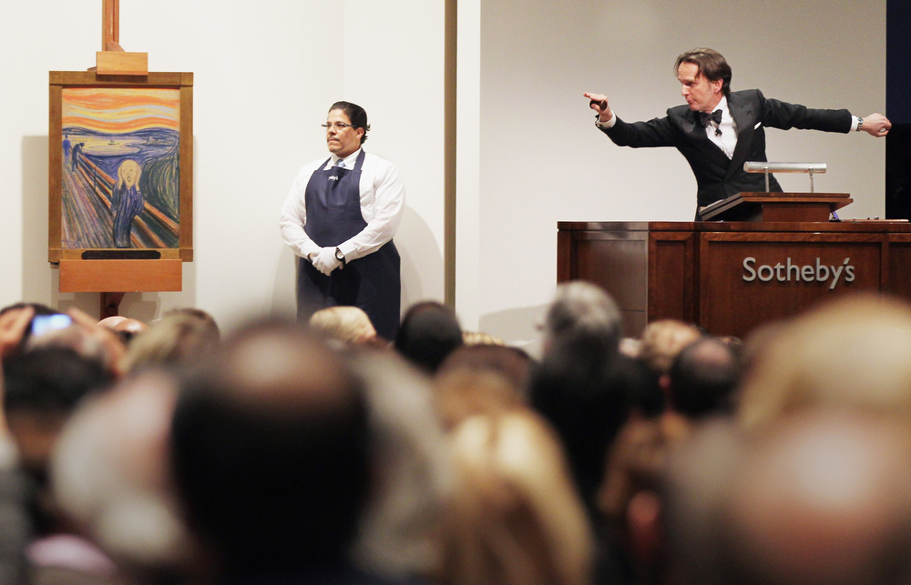 Description of . Edvard Munch's 'The Scream' is auctioned at Sotheby's May 2012 Sales of Impressionist, Modern and Contemporary Art on May 2, 2012 in New York City. The masterpiece is one of four versions created by Munch and the only one that is privately owned. The masterpiece sold for over $119 million.  (Photo by Mario Tama/Getty Images)