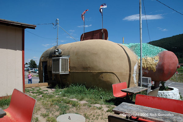 The bun's bum. The not so flattering view of the 34 ft bun holding a 42 ft hot dog!