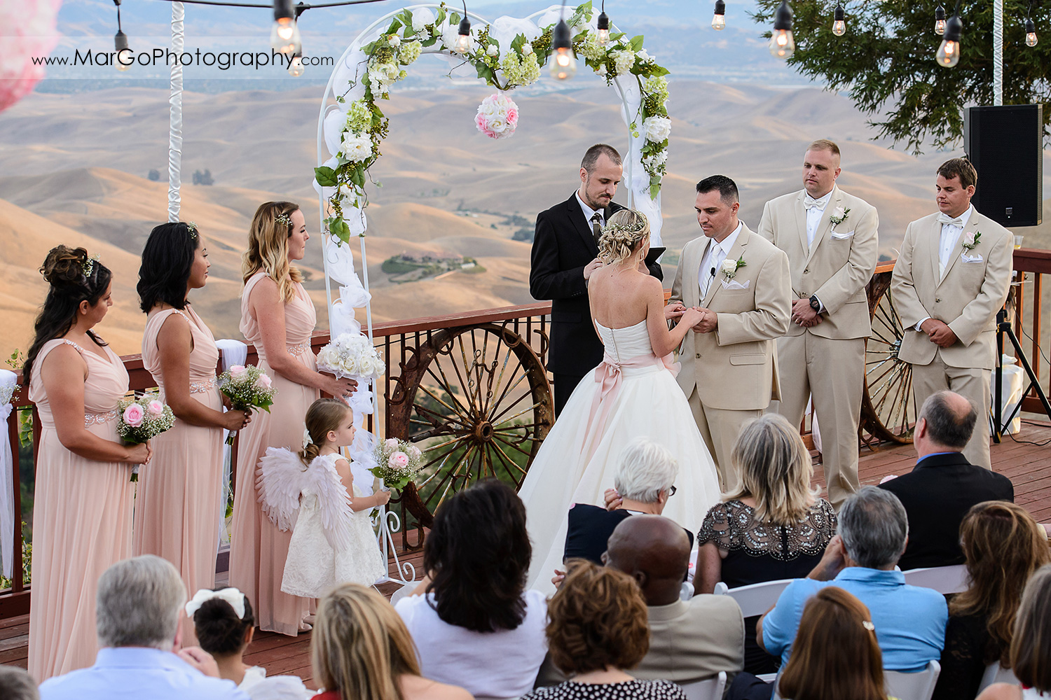 bride and groom holding hands during backyard wedding ceremony