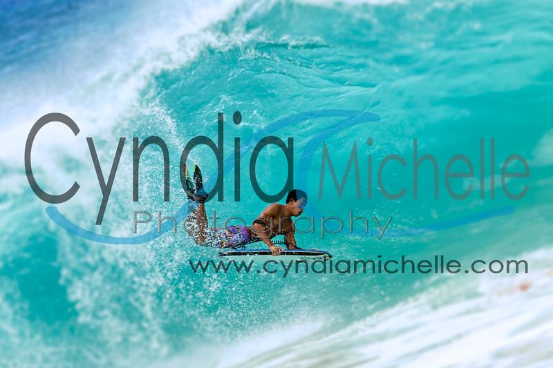 Kanaloa bodyboarding at Sandy Beach located on the South Shore of Oahu, Hawaii on August 7, 2014