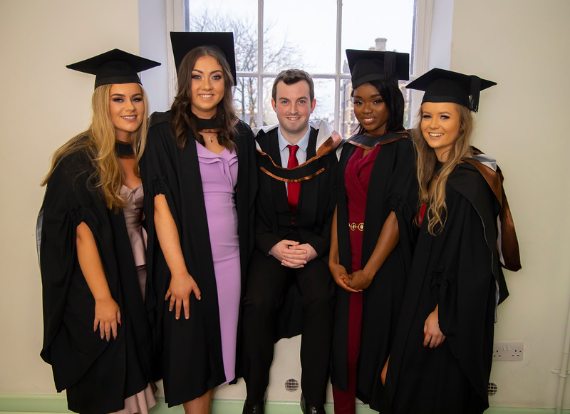 31/10/2019. FREE TO USE IMAGE. Waterford Institute of Technology (WIT) Conferring Ceremonies. Pictured are Kim Mullins Waterford, Cliodhna Millen Danesfort, Sean Murphy Kilkenny City, Adepeju Adegboyega Cork City and Karin Mackey Mullinahone. Picture: Patrick Browne