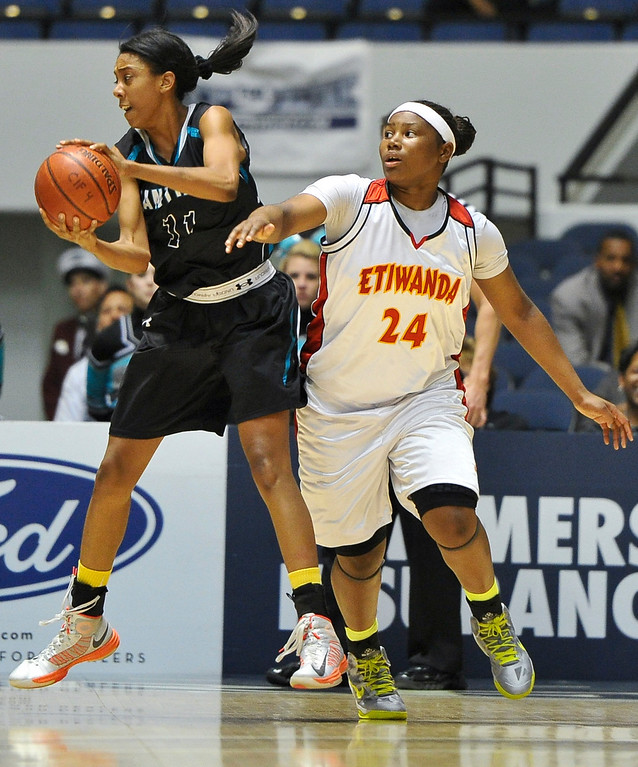 . Etiwanda faces Santiago High School during the CIF-SS Div. I-AA Girls Basketball Championship game at the Anaheim Convention Center on Friday, Mar. 1, 2013. Etiwanda was defeated by Santiago 70-65. (Rachel Luna / Staff Photographer)