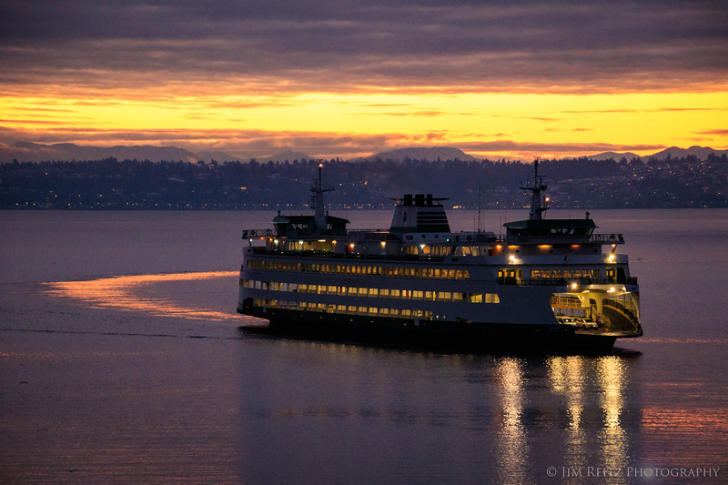 Ferry at sunrise in Puget Sound.