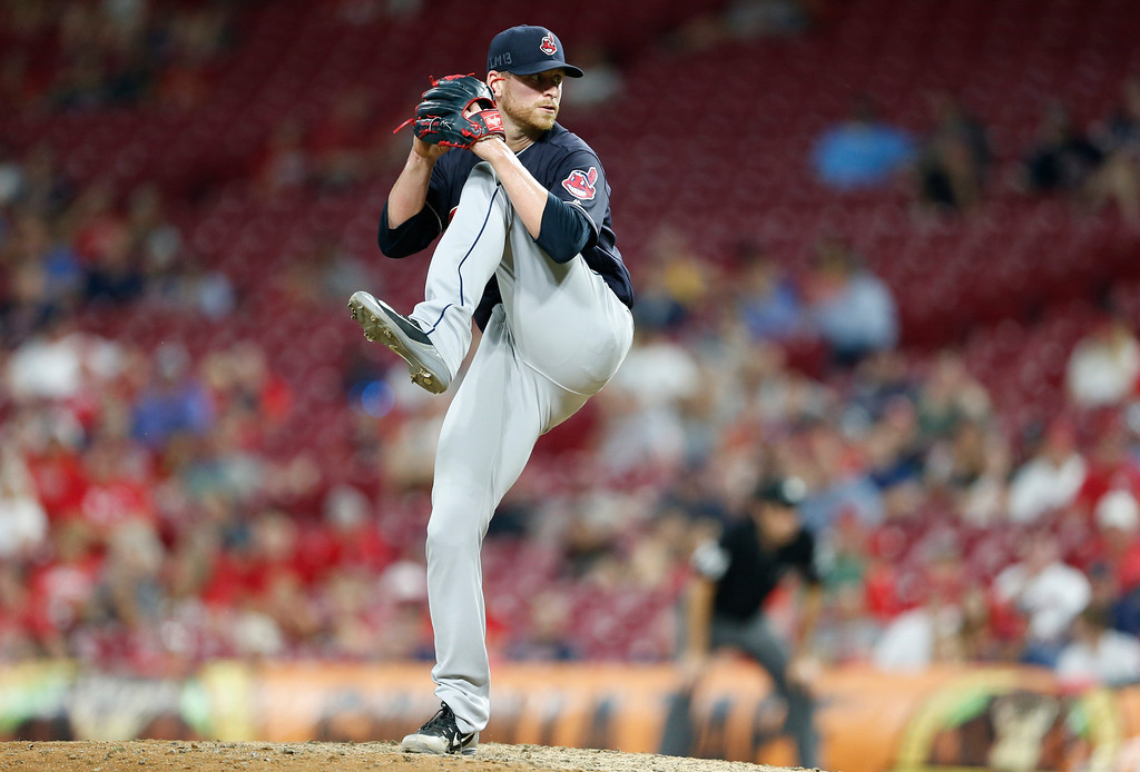 . Cleveland Indians relief pitcher Neil Ramirez throws against the Cincinnati Reds during the eighth inning of a baseball game, Monday, Aug. 13, 2018, in Cincinnati. The Indians won 10-3. (AP Photo/Gary Landers)