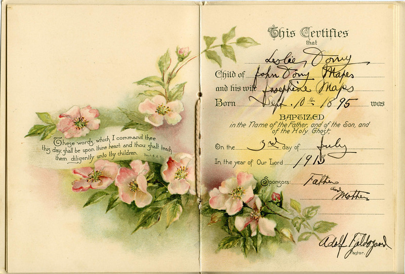 Leslie Dony Mapes' baptism certificate. Leslie was baptized two weeks before he died, two months short of his 18th birthday.