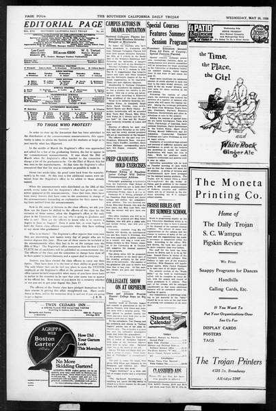 Daily Trojan, Vol. 17, No. 152, May 26, 1926