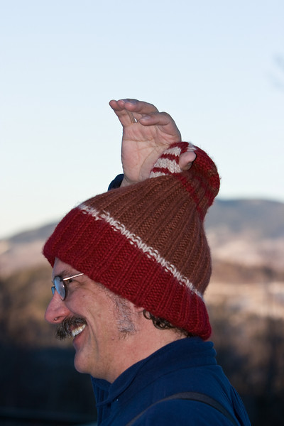 Bill modeling the Klein Bottle hat.