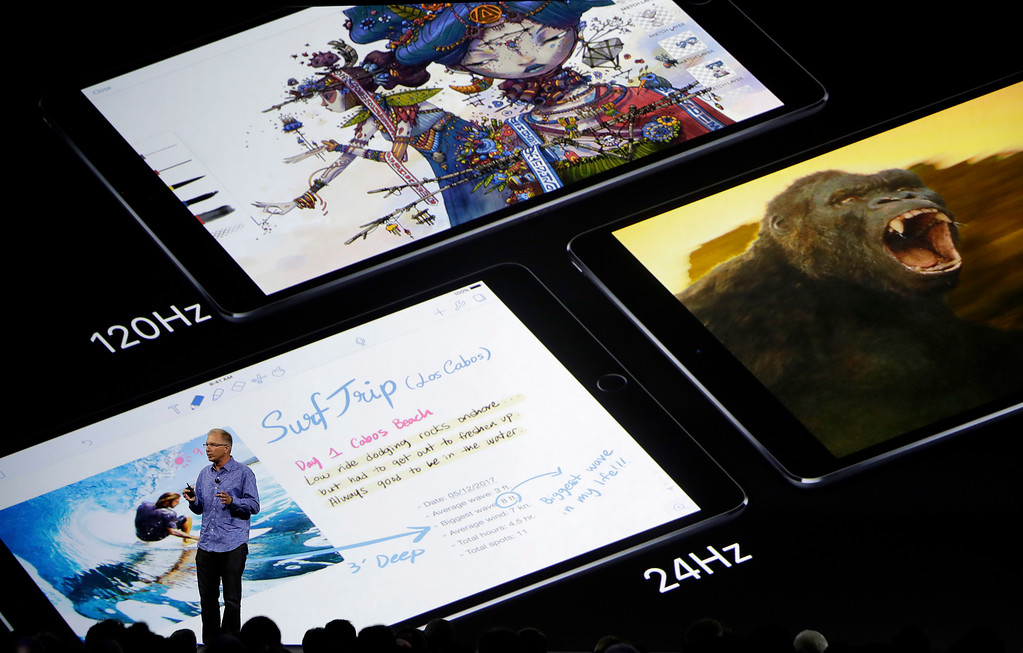. Apple\'s Greg Joswiak speaks about the iPad Pro during an announcement of new products at the Apple Worldwide Developers Conference in San Jose, Calif., Monday, June 5, 2017. (AP Photo/Marcio Jose Sanchez)