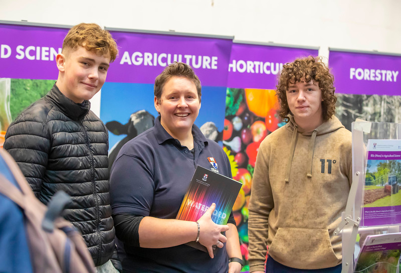 "22/11/2019. FREE TO USE IMAGE. Pictured at Waterford Institute of Technology (WIT) Open Day. Pictured are Darragh O'Dowd and Gearoid Ladden from Kerry talking to Dr. Cara Daly course leader in Horticulture  WIT. Picture: Patrick Browne  Two open days taking place this week for school leavers and adult learners at WIT Arena  Families of south east Leaving Cert students wishing to get as much course and college-related research done as early as possible in sixth year can do so by attending the Waterford Institute of Technology (WIT) Saturday Open Day, 9am-2pm on 23 November 2019. The traditional schools' open day will run as usual on Friday, 22 November with a focus on information for secondary school students, students in further education colleges, and other CAO applicants, including mature students.  The Saturday Open Day – isn't just about courses for school leavers – it will have information available on the courses available across WIT's schools of Lifelong Learning, Humanities, Engineering, Science & Computing, Health Sciences, Business.  Adults interested in upskilling, or re-skilling can find out about Springboard courses, traditional evening courses as well as part-time and postgrad courses which are offered. WIT also runs specialist programmes for education, science, engineering and other professionals. The number of students studying WIT's part-time and online courses increased to 1650 in 2018, a 28% increase on 2017.  WIT Registrar Dr Derek O'Byrne says: ""A trend we are seeing at WIT Open Days is that students who may have enjoyed the Schools Open day with their friends and school groups, will return the following day with their parents or guardians.""  Students whose schools are attending are encouraged to join their school group on the Friday. As school students are fully catered for at the Schools' Open Day on Friday, there will not be the same breadth of school leaver focused talks and events at the open day on Saturday. However, sa"