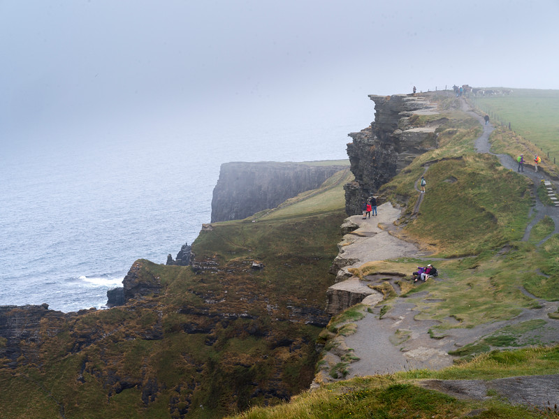 Tourists on cliff, Cliffs of Moher, Lahinch, County Clare, Ireland