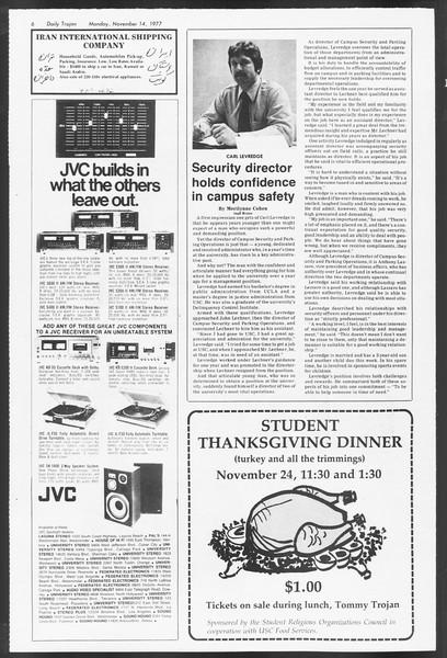Daily Trojan, Vol. 72, No. 39, November 14, 1977