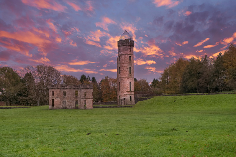 Ancient Ruins of Eglinton Castle Irvine Scotland at the end of a cold Autumn day in Scotland.