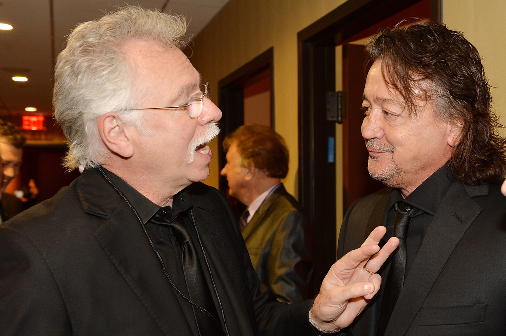 . Musicians Joe Bonsall of the Oak Ridge Boys (L) and Mark Collie attend the funeral service for George Jones at The Grand Ole Opry on May 2, 2013 in Nashville, Tennessee. (Photo by Rick Diamond/Getty Images for GJ Memorial)