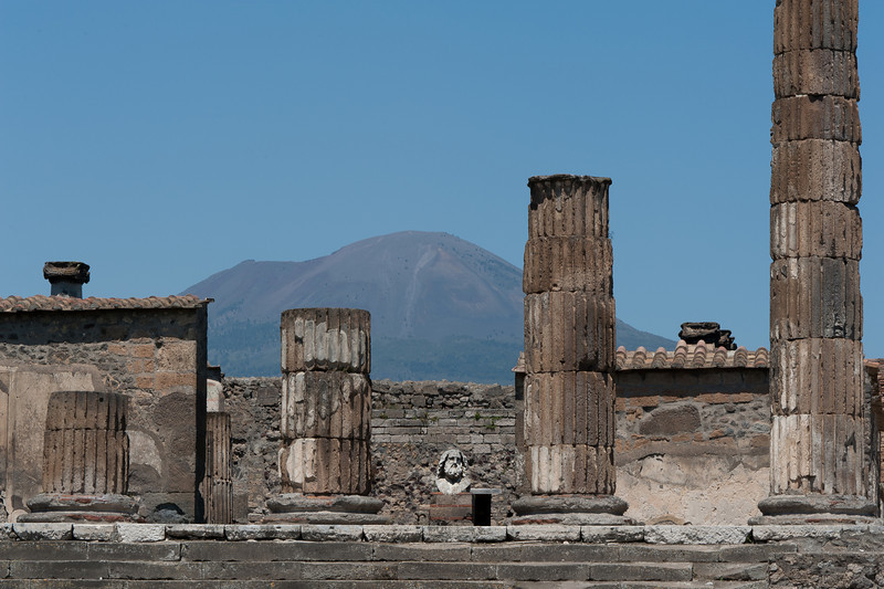 The Forum with Vesuvius in the distance - Pompeii, italy
