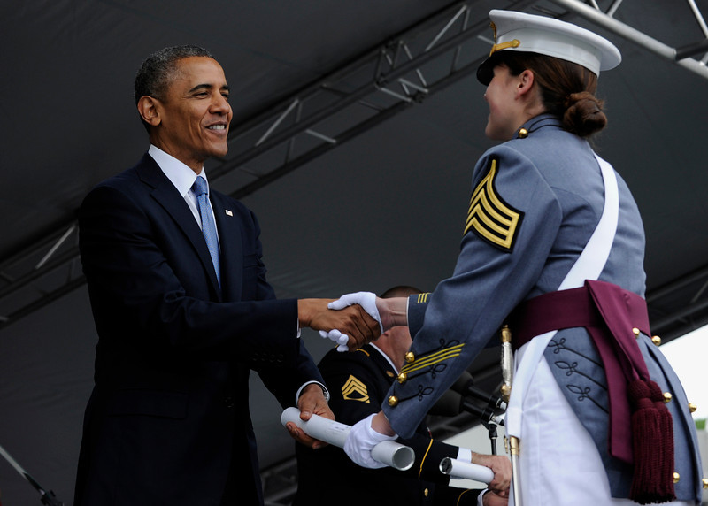 . President Barack Obama hands out diploma to Calla Glavin, of Birmingham, Mich., during the commencement at the U.S. Military Academy at West Point\'s Class of 2014, in West Point, N.Y., Wednesday, May 28, 2014. (AP Photo/Susan Walsh)