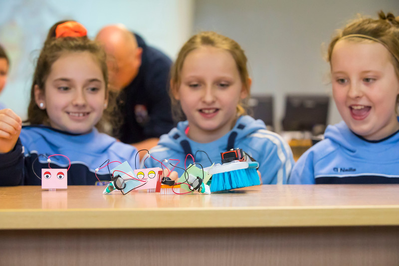 "06/03/2017. FREE TO USE IMAGE. Engineers Week at WIT (Waterford Institute of Technology). Pictured during ""BrushBots Workshop"" are Eábha Doyle, Ella Malone and Chloe Walsh pupils from Scoil Mholainge, Listerlin, Co. Kilkenny. Picture: Patrick Browne"