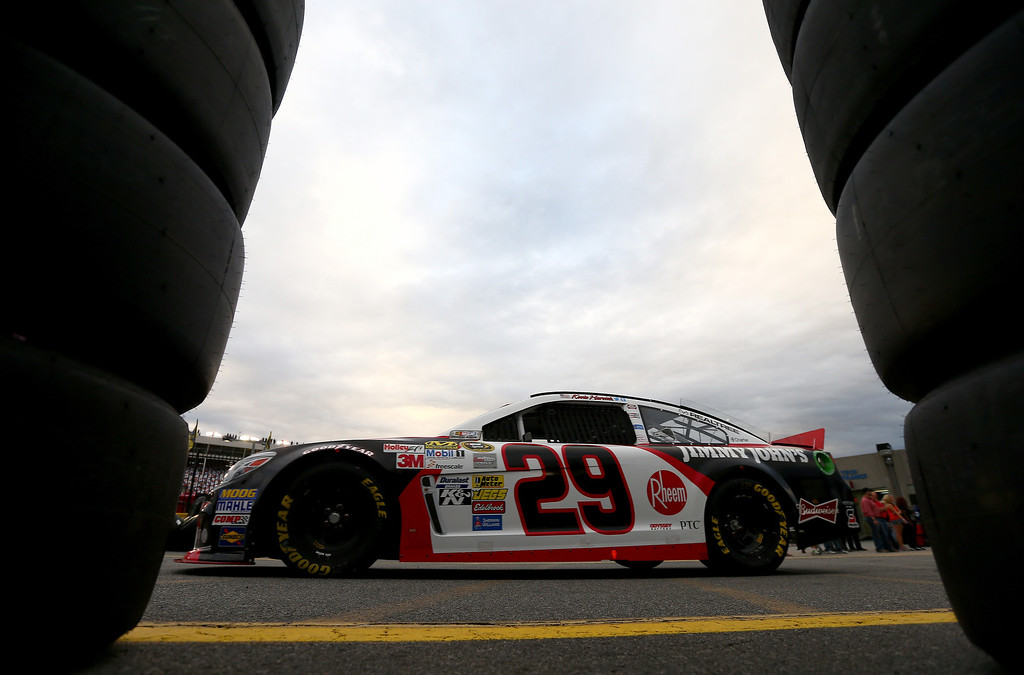 . CONCORD, NC - OCTOBER 11:  Kevin Harvick, driver of the #29 Jimmy John\'s Chevrolet, drives through the garage area during practice for the NASCAR Sprint Cup Series Bank of America 500 at Charlotte Motor Speedway on October 11, 2013 in Concord, North Carolina.  (Photo by Streeter Lecka/Getty Images)