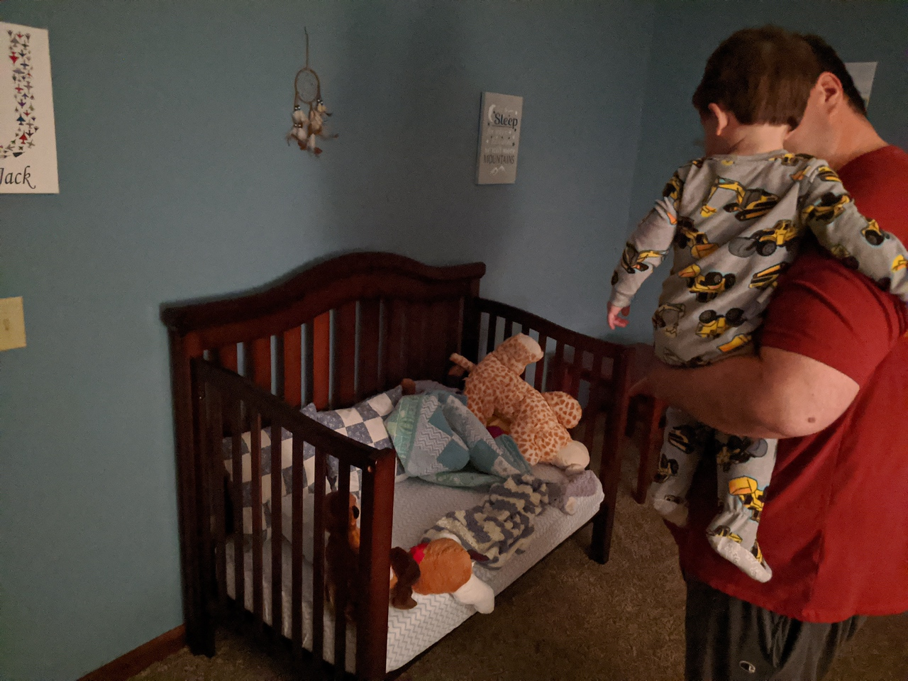 Sunday night activities included taking the front rail off Jack's bed so he wouldn't keep climbing out and potentially get hurt (this did not go over well)