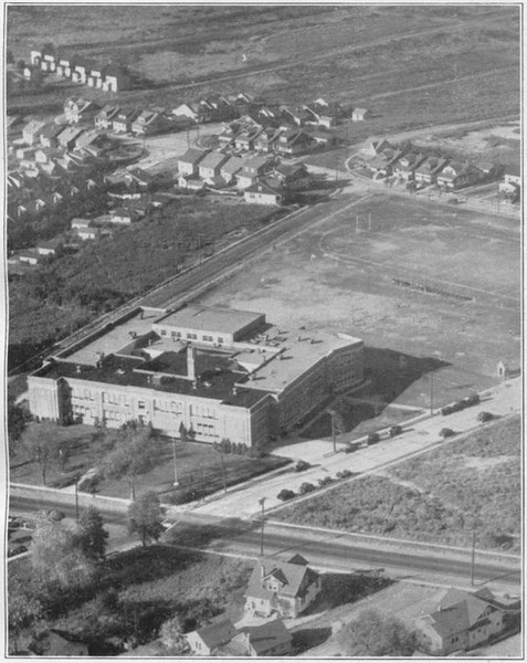 Aerial of Union High School taken in 1932. This building now houses Burnet Middle School.