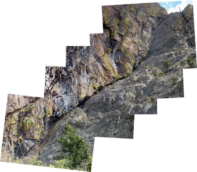 SE Dihedral composite. Very foreshortened - image recorded looking up from base. Compare to complete photos of SE Face Vic's Peak. Route looks fairly easy until crack shrinks down beginning upper 1/4, gets close to vertical then. Click for Hi res.