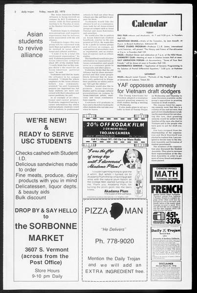 Daily Trojan, Vol. 65, No. 97, March 23, 1973
