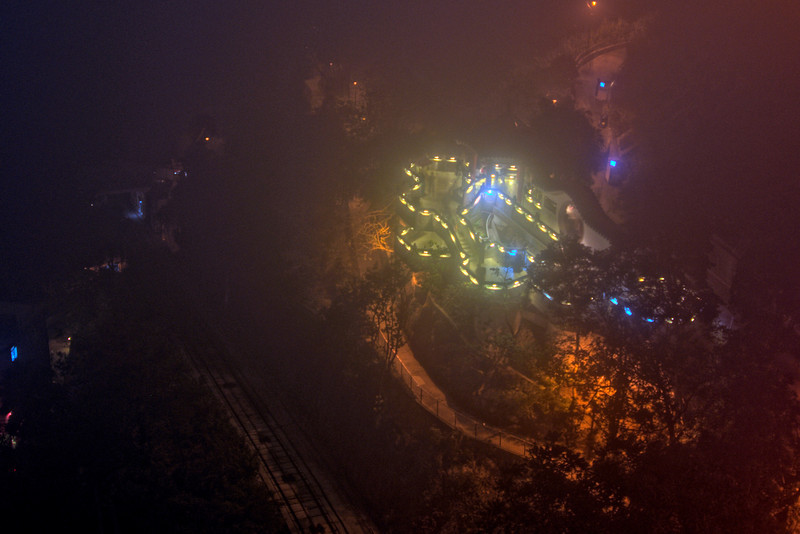 Shot of the Victoria Peak at night in Hong Kong