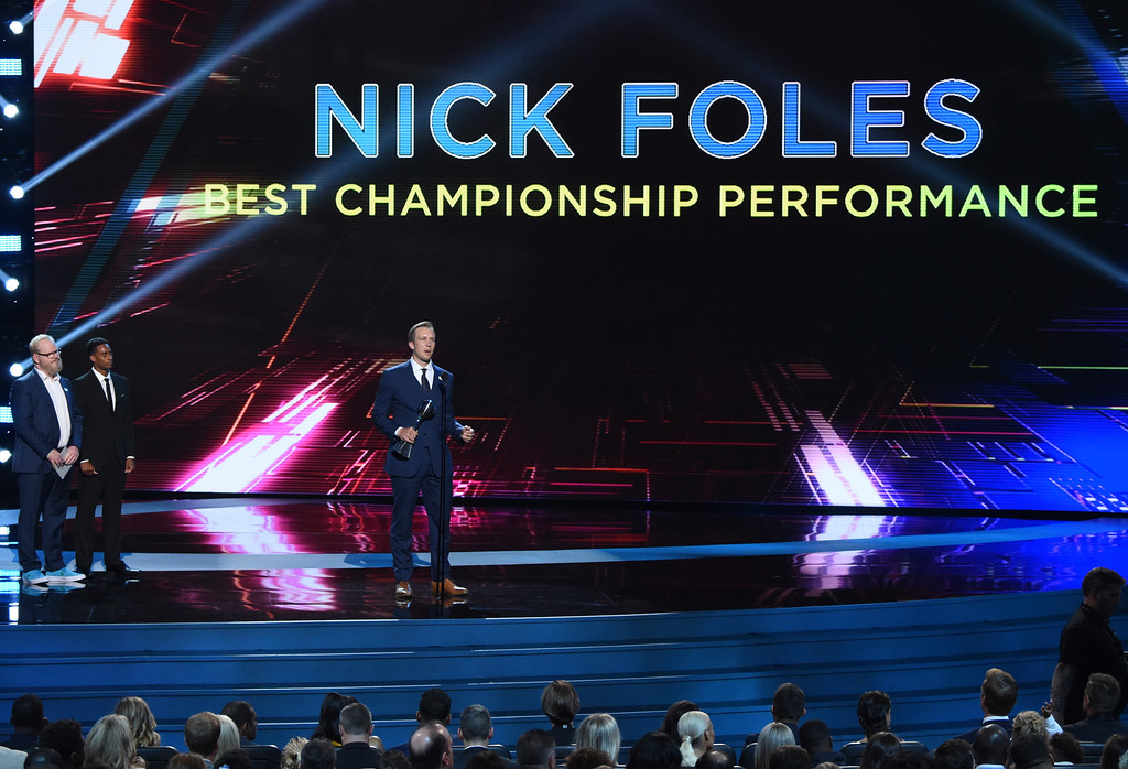 . Philadelphia Eagles\' Nick Foles accepts the award for best championship performance in Super Bowl 52 at the ESPY Awards at Microsoft Theater on Wednesday, July 18, 2018, in Los Angeles. (Photo by Phil McCarten/Invision/AP)