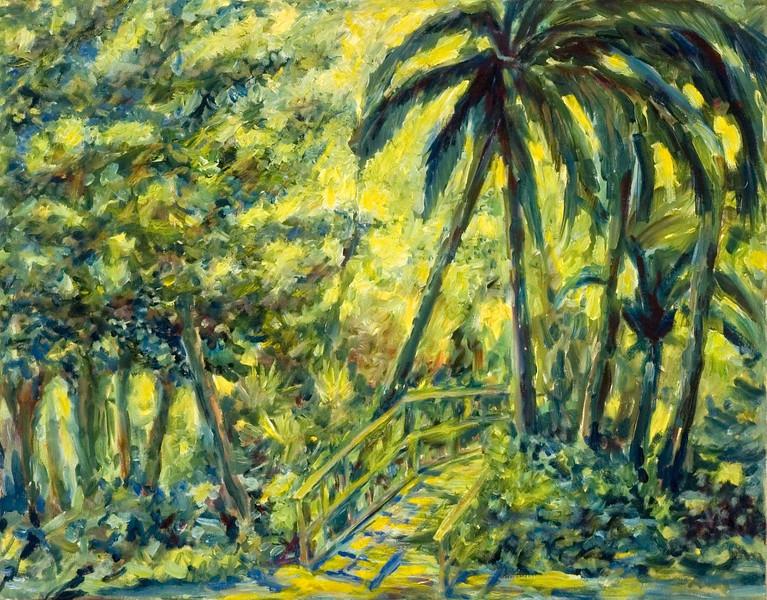 "©John Rachell  Title: Mounts Botanical Garden Image: 22""w X 28""d Dated: 2005 Medium & Support: Oil paint on canvas Signed: LL Signature"