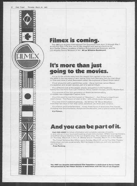 Daily Trojan, Vol. 93, No. 50, March 24, 1983