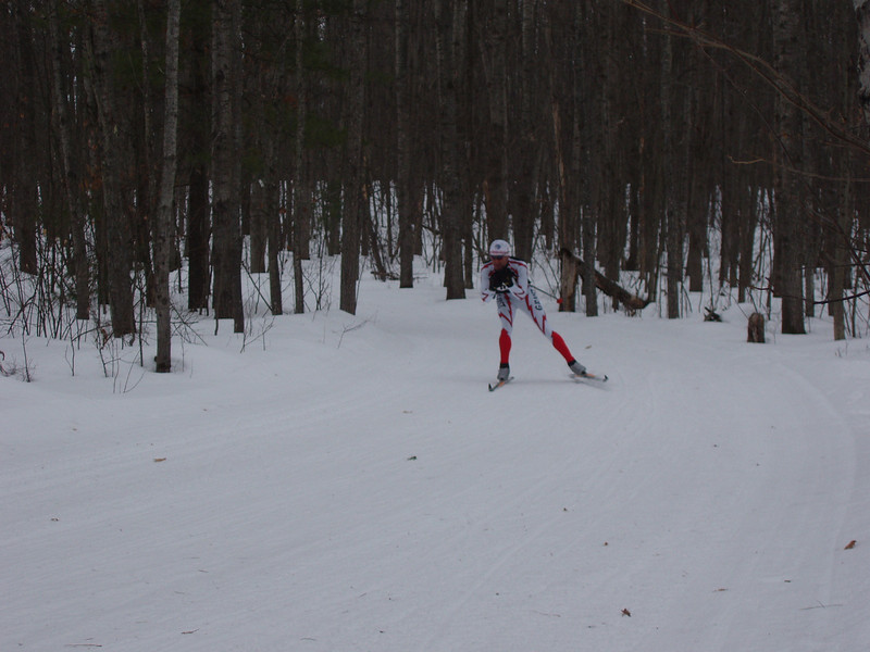 Dell Todd (Grand Rapids Nordic) in hot pursuit of Hugh and Yvon.