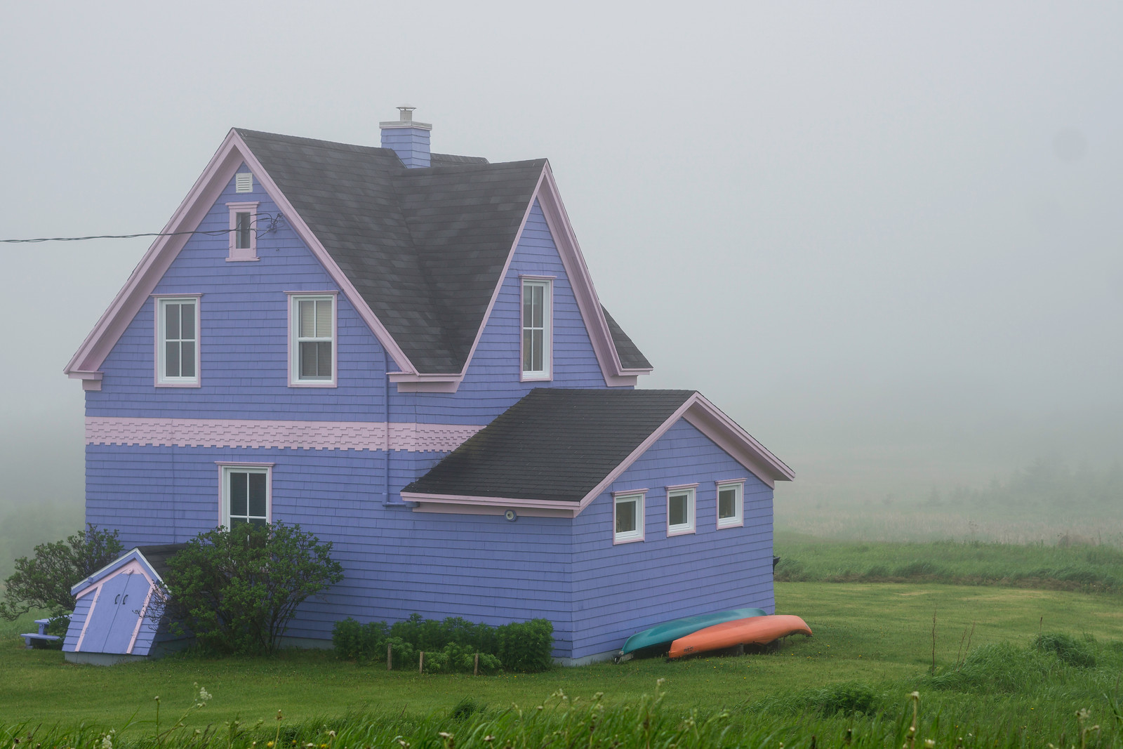 This house in Havre-aux-Maisons is hard to lose on a foggy day, which is probably the point!