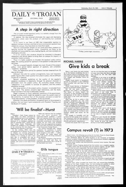 Daily Trojan, Vol. 60, No. 93, March 19, 1969