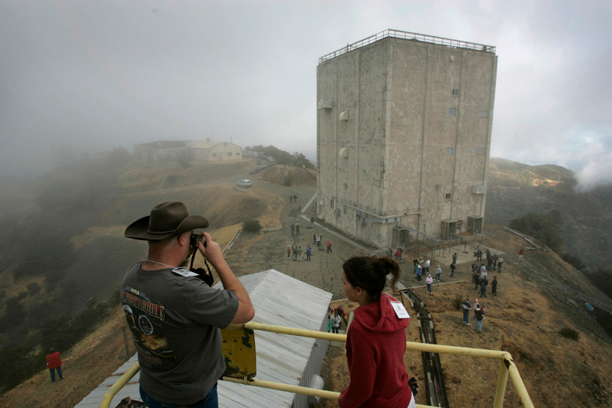 . 2008: Chris Zervos of San Jose and his daughter, Angie, 16, take in the view of the radar tower during a reunion of dozens of Air Force veterans and dependents who lived on top of Mount Umunhum in the 1960s and 1970s. (Patrick Tehan/Mercury News)