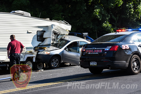 Schuylkill County - Pottsville City - Car into Camper - 07/10/2018