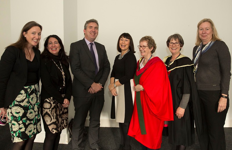 28/10/2015 Image Free to Use. Conferring at Waterford Institute of Technology. l-r; Inez Bailey, Aislinn Brennan,  John Wall, Helan Murphy, Meave O'Grady, Eilish Roche and Meg Benke.Photo; Mary Browne