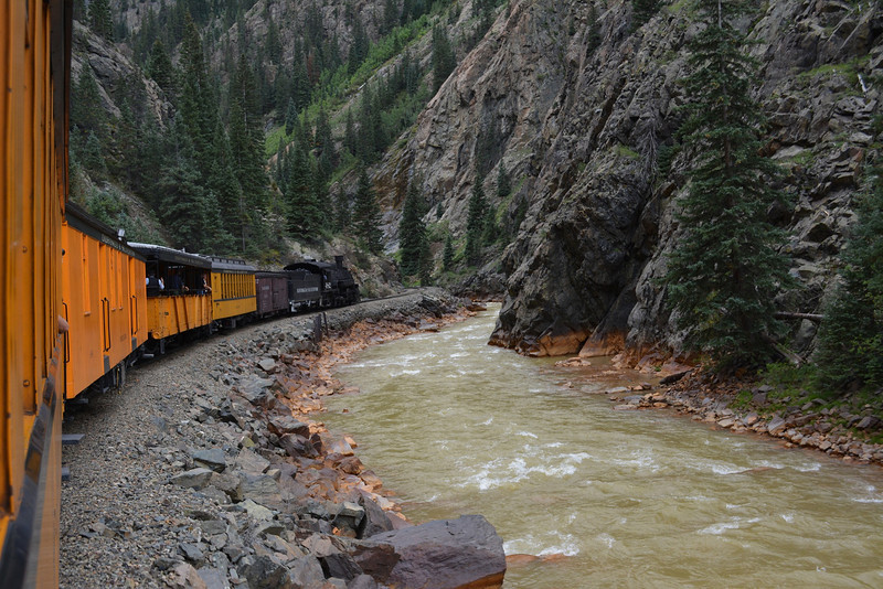 Established in 1881. This authentic steam-powered, coal-fired scenic train makes daily 45 miles (72 km) trips through remote mountains of 3 ft (914 mm) track between Durango at 6,512 ft (1,988 m) and Silverton at 9,308 ft (2,837 m).