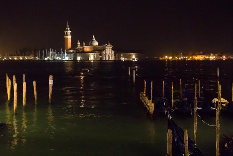 Church of San Giorgio Maggiore at night.
