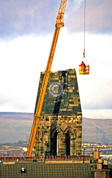 Dismantling the Candlish steeple stone by stone.    February 1997