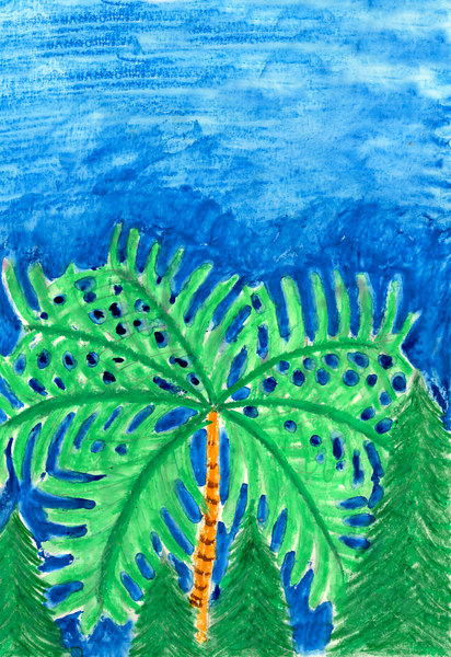A palm tree at Kings Canyon? This was done with watercolor pastel.