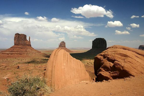 View of Monument Valley from the Navaro Monument Valley center, Arizona.