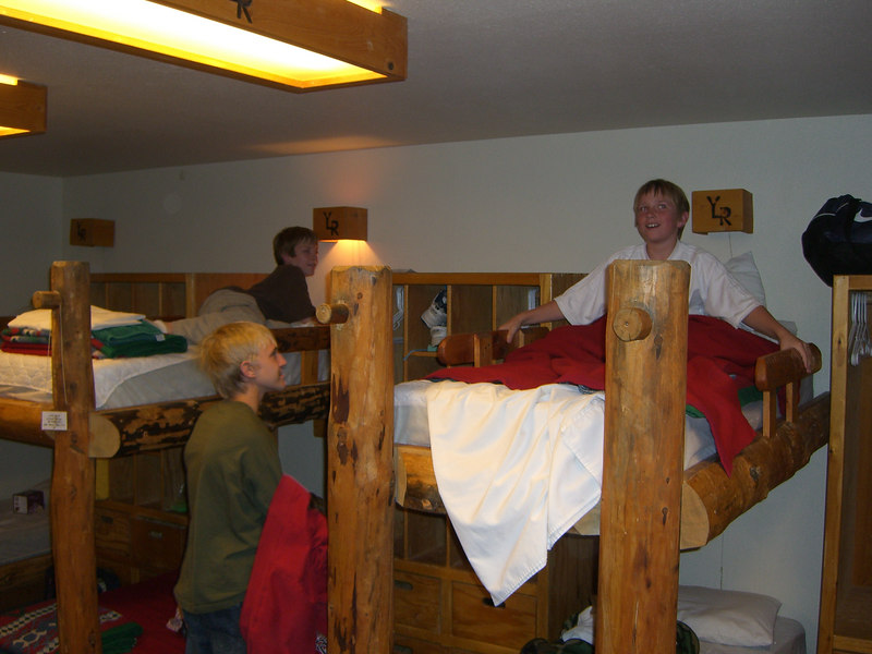 This is our males dorm room, which we shared with 4-5 other youth and two other adults.   All the bedding was provided.  We all slept very well - after the boys eventually quieted down!  :) The adults scored on getting the lower bunks!