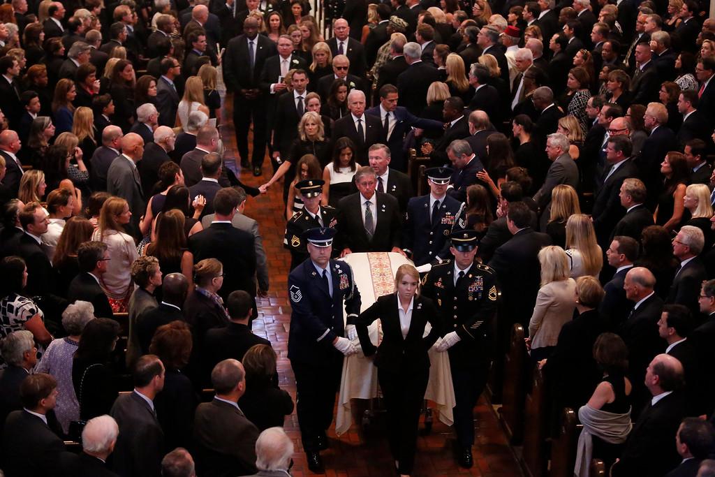 . Vice President Joe Biden, his wife Jill Biden, and family members follow the casket during funeral services Biden\'s son, Beau Biden, Saturday, June 6, 2015, at St. Anthony of Padua Church in Wilmington, Del. (Yuri Gripas/Pool Photo via AP)